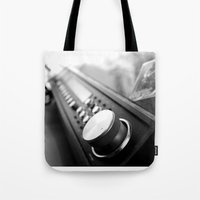 acdc Tote Bags featuring Record player by Deliratio