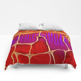 Distant Trees in Violet and Vermillion Comforters