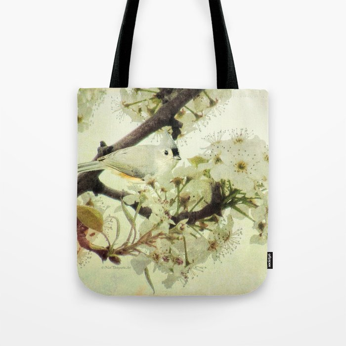 Tufted Titmouse Spring Flower Farmhouse Art Country Home Decor A132 Tote Bag