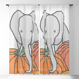 Big Elephant hanging out in the Pumpkin Patch for Halloween Sheer Curtain