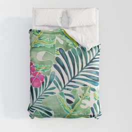 Lush Tropical Fronds & Hibiscus Comforters