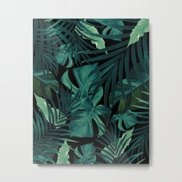 Tropical Jungle Night Leaves Pattern #1 #tropical #decor #art #society6 Metal Print