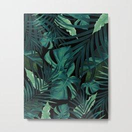 Tropical Jungle Night Leaves Pattern #1 #tropical #decor #art #society6 Metal Print