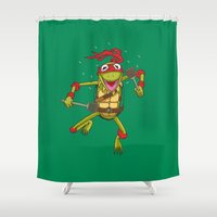 muppet Shower Curtains featuring TEENAGE MUPPET NINJA PUPPET by T.a. Bryant