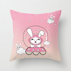 Space Bunny Flying Throw Pillow