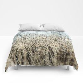 Aqua Wild meadow grass in winter Comforters