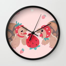 Tortoises love strawberries Wall Clock