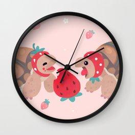 Tortoises love strawberries Wall Clock
