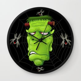 Frankenstein Ugly Portrait and Spiders Wall Clock
