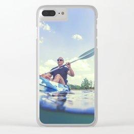 Young Man Kayaking on Lake, Kayaking Underwater View, Split Shot. Clear iPhone Case