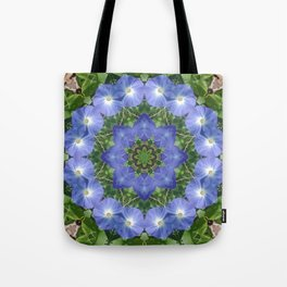 Heavenly Blue Morning Glory mandala 1057 Tote Bag