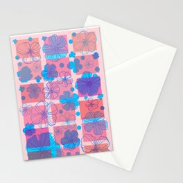 Drawing flowers in cubes Stationery Cards