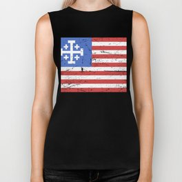 United States Flag With Knights Templar Cross Biker Tank