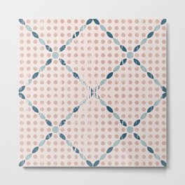Shabby Geometric Circles and Diamonds in Muted Blush Pink and Teal Blue Metal Print