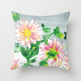 Dahlias for a cloudy day i Throw Pillow