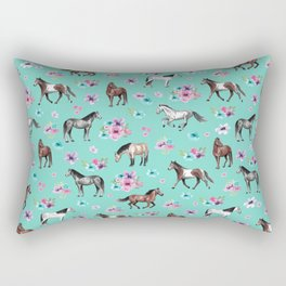 Hand drawn horses, Flower horses, Floral Pattern, Aqua Blue Rectangular Pillow