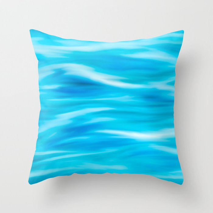 Blue waves painting Throw Pillow