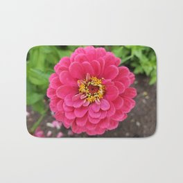 Bloomed Pink Zinnia Flower Bath Mat