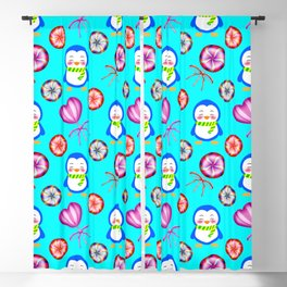 Funny happy smiling baby penguins and sweet vintage retro lollipops. Cute blue winter candy pattern Blackout Curtain