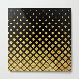 Art Deco Glitter-Gold Diamonds on Black Pattern Metal Print