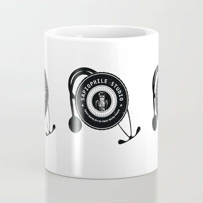 Sapiophile Studio Logo Skeleton Stethoscope Coffee Mug