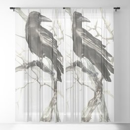 Raven on the Tree Sheer Curtain