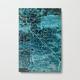 Los Angeles, California, old map, year 1966 Metal Print