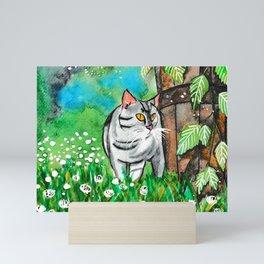 Summer Time Curious Cat Mini Art Print