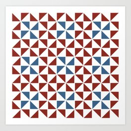 Pinwheel Quilt Pattern in Red and Blue Art Print