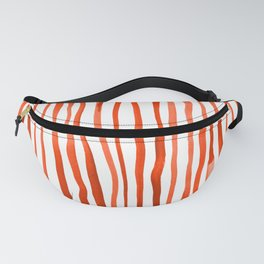 Vertical watercolor lines - orange Fanny Pack