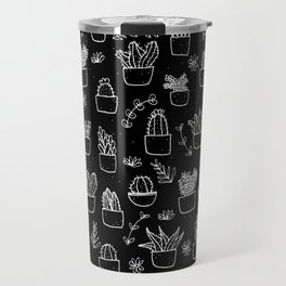 Potted Plants Pattern (White on Black) Travel Mug