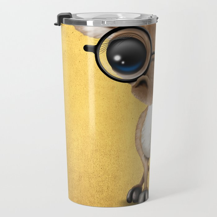 Cute Curious Nerdy Baby Deer Wearing Glasses on Yellow Travel Mug