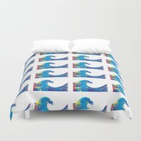 hokusai Duvet Covers featuring Hokusai Rainbow_Bs by FACTORIE