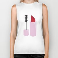 lipstick Biker Tanks featuring Lipstick by TofuCurtains