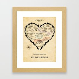 Feline Heart Map Framed Art Print