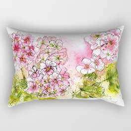 Pink Geraniums Watercolor Painting Rectangular Pillow