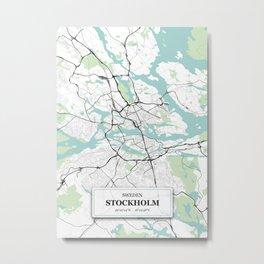 Stockholm Sweden City Map with GPS Coordinates Metal Print