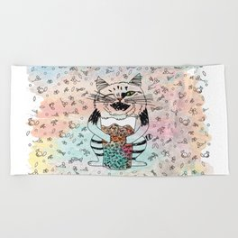 Emotional Cat. Playful. Beach Towel