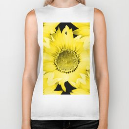 Yellow Sunflowers On Black #decor #society6 #buyart Biker Tank