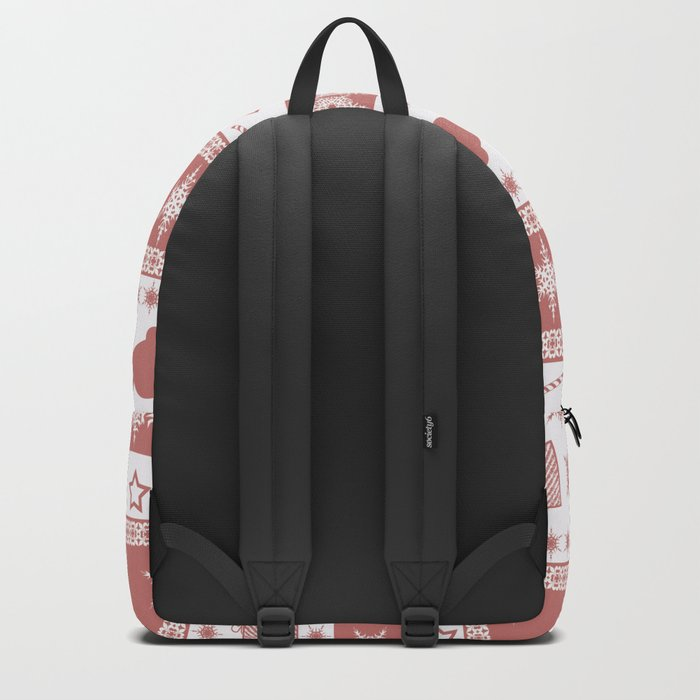 Christmas brown - white pattern. Backpack