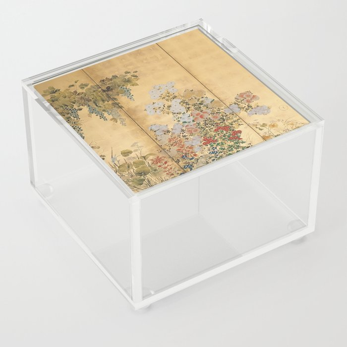 Japanese Edo Period Six-Panel Gold Leaf Screen - Spring and Autumn Flowers Acrylic Box