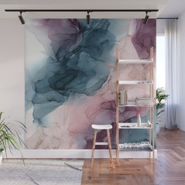 Pastel Plum, Deep Blue, Blush and Gold Abstract Painting Wall Mural
