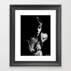 Girl in grey Framed Art Print