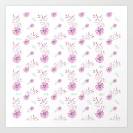 Pastel pink teal watercolor hand painted daisies floral Art Print