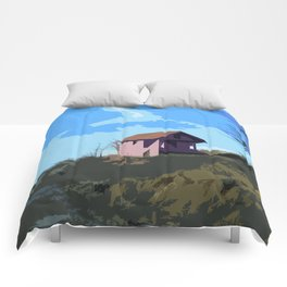 A Beautiful house on the hill Comforters