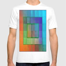Aperture #2 Fractal Pleat Texture Colorful Design White Mens Fitted Tee MEDIUM