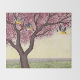 spring goldfinches Throw Blanket