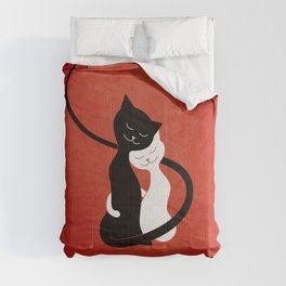 White And Black Cats In Love (red) Comforters