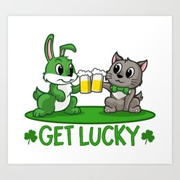 Get Lucky - Rabbit And Cat Drinking Beer Art Print