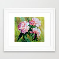 peonies Framed Art Prints featuring Peonies by OLHADARCHUK